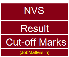 image : NVS Result 2017 Cut-off Marks @ JobMatters.in