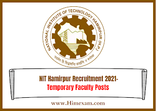 NIT Hamirpur  Recruitment 2021-Temporary Faculty Posts