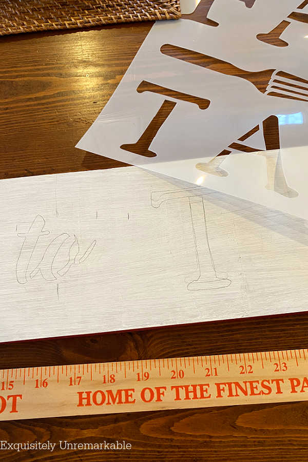 Mapping Out Stencil Placement On Sign