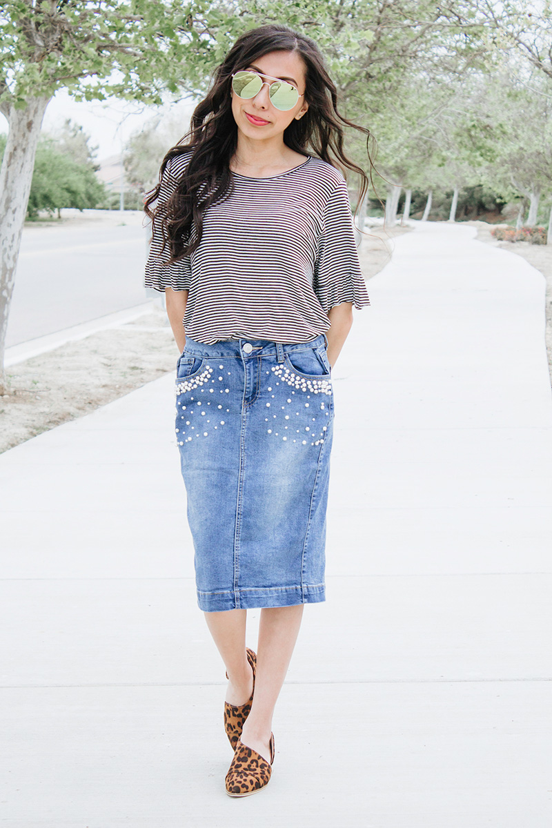striped top pearl denim skirt leopard cut out booties