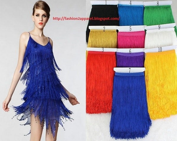 Long polyester tassel fringe lace trim on cocktail dress