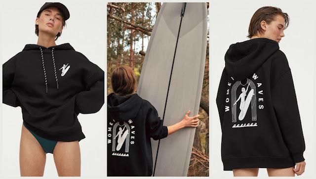 Surferska czarna bluza z kapturem