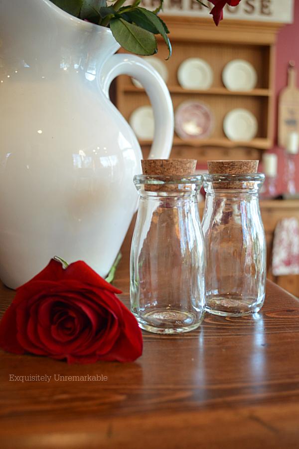Mini Glass Milk Bottles on a wooden table