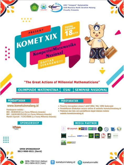 Olimpiade Matematika, Essay, dan Seminar Nasional KOMET 2020 di UIN Malang