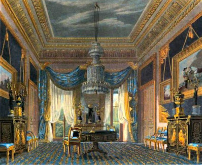 Blue Velvet Closet, Carlton House, from The History of the Royal Residences by WH Pyne (1819)