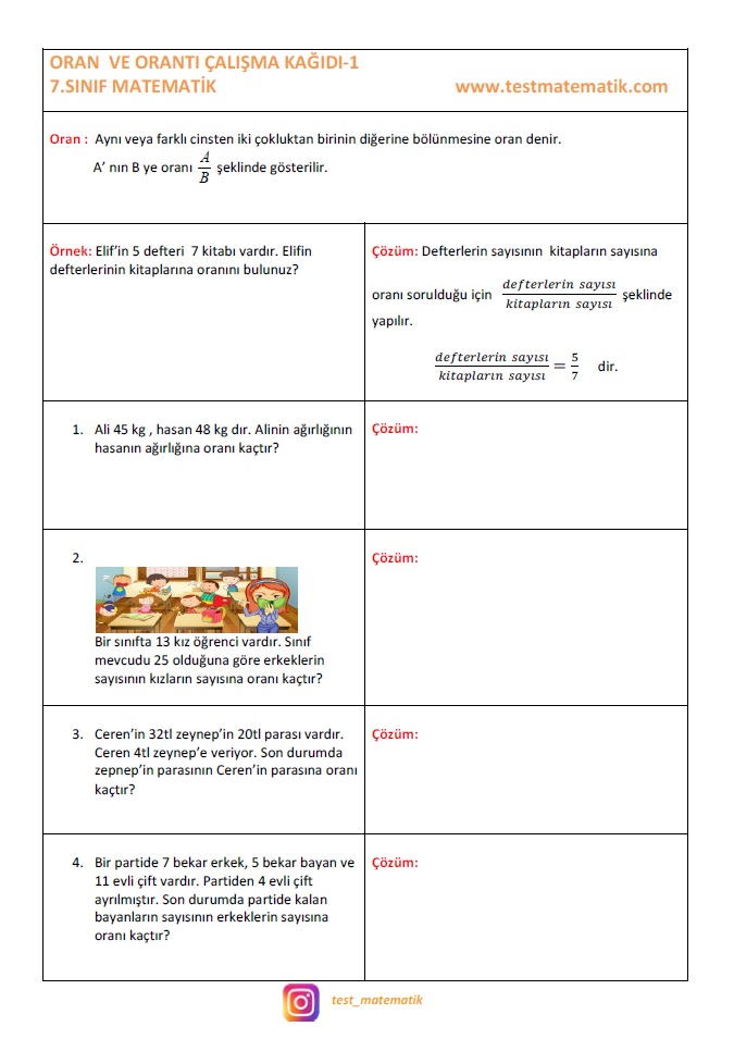 7 Sinif Oran Calisma Kagidi 1 Test Matematik