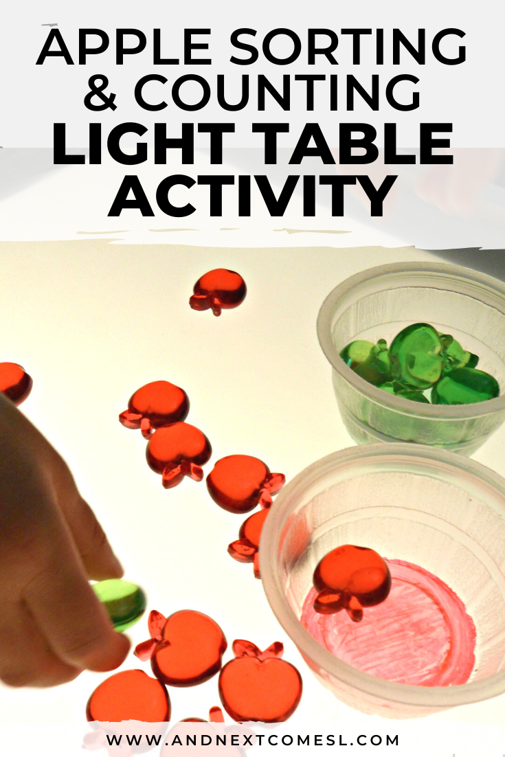 Need apple light table ideas for toddlers, preschool, or kindergarten? Then try this apple sorting and counting activity!