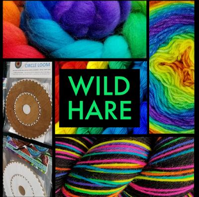 rainbow colored roving, yarn, logo, and circle loom