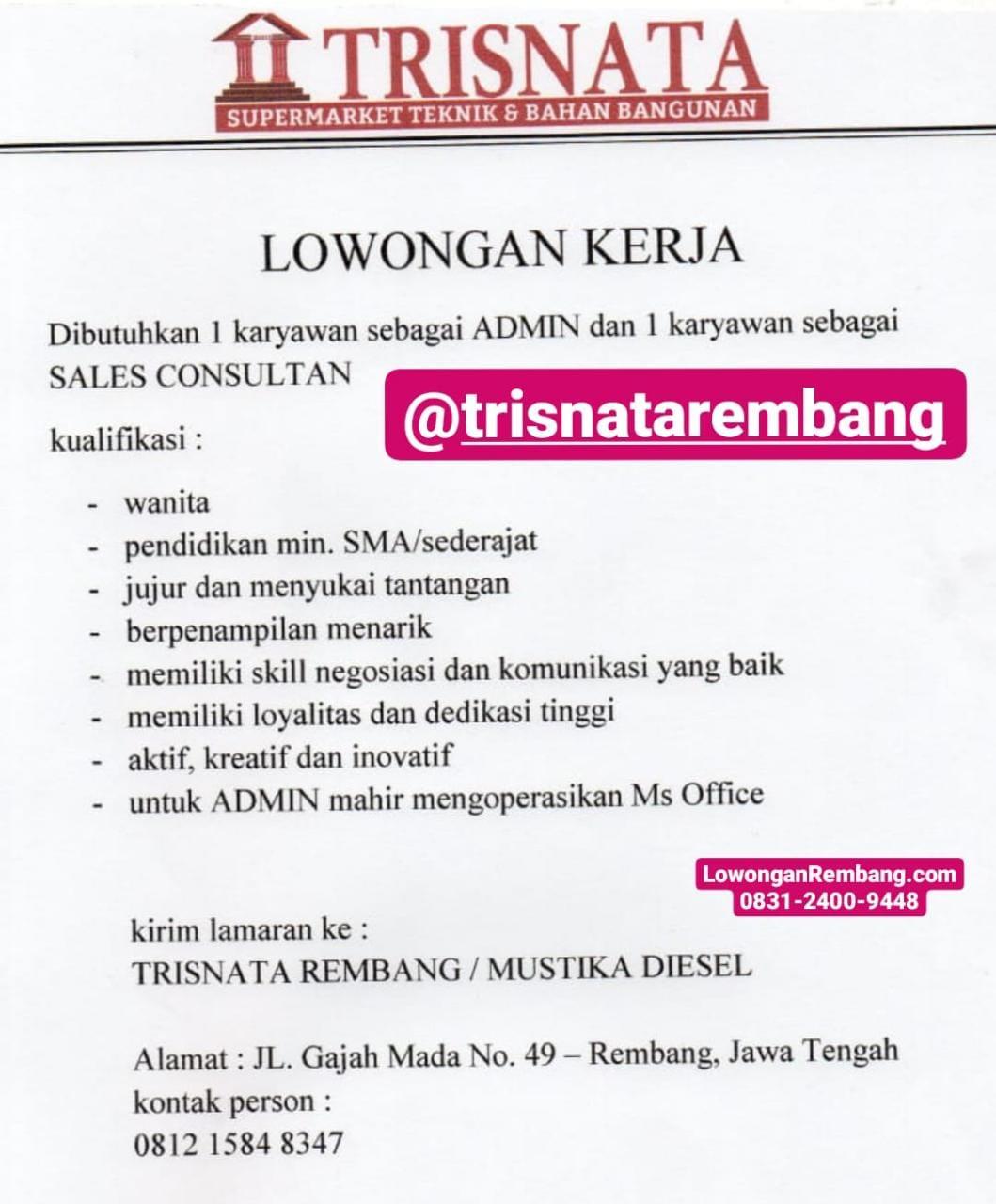 Lowongan Kerja Admin Dan Sales Consultan Toko Bangunan Trisnata / Mustika Diesel Rembang
