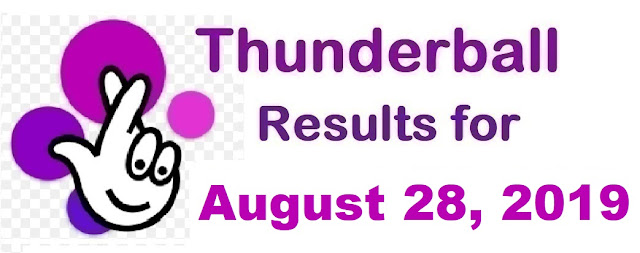 Thunderball results for Wednesday, August 28, 2019