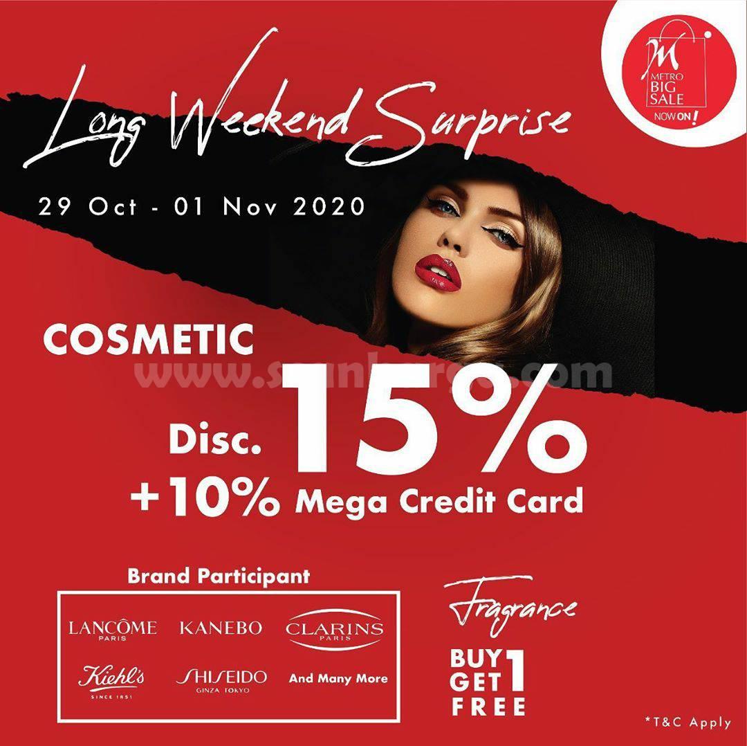 METRO Long Weekend Surprice - Cosmetic Disc 15% +10 % dengan Kartu Kredit Bank Mega