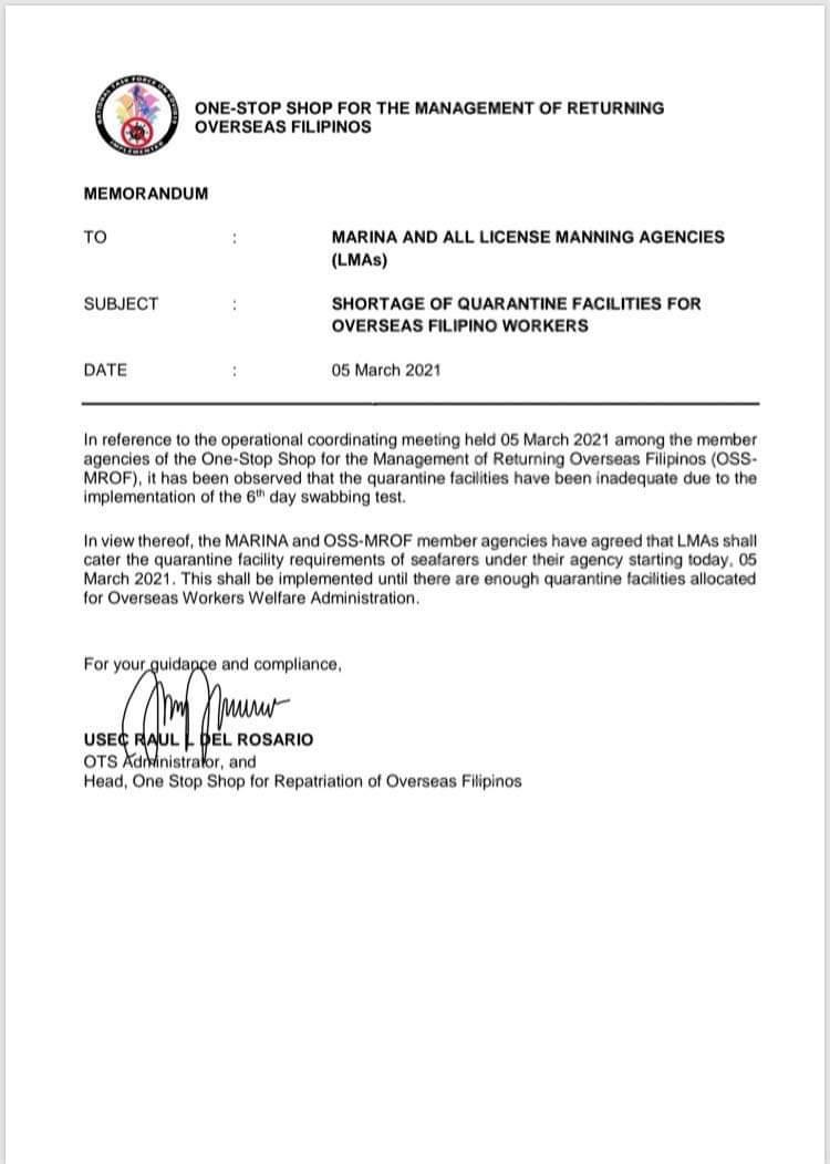 OWWA Quarantine Hotel Shortage announcement