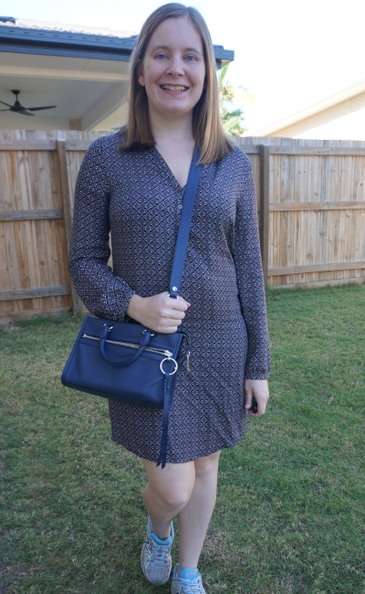 printed shift dress long sleeves with navy rebecca minkoff crossbody bag | awayfromblue