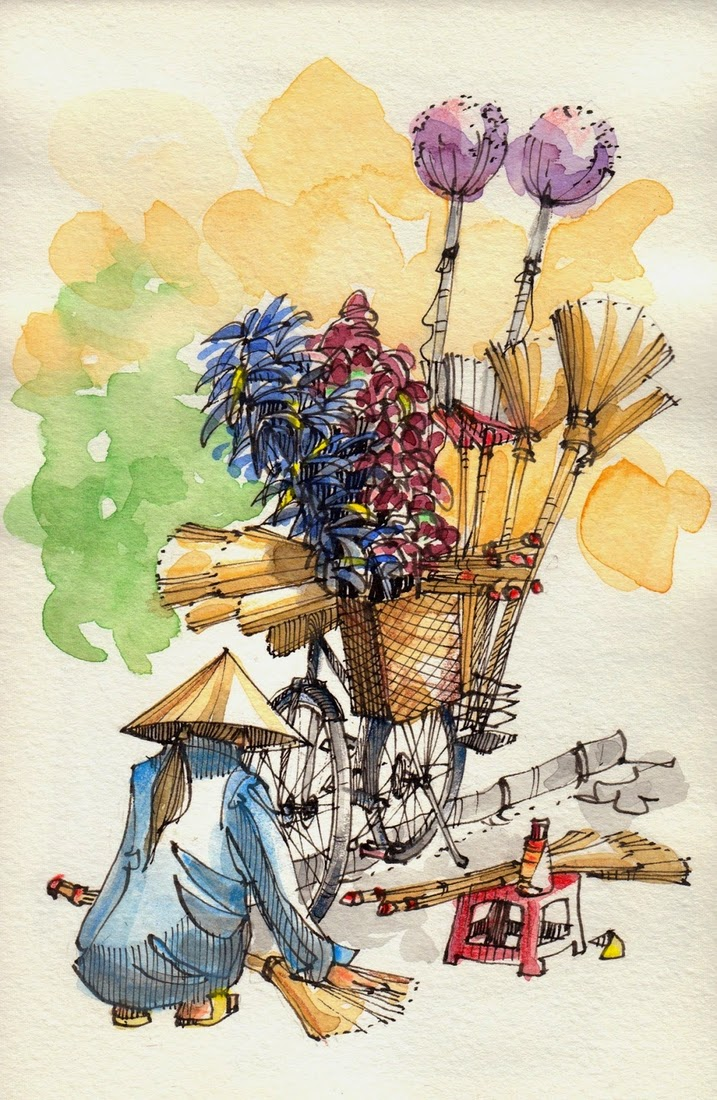 05-Bicycles-in-Vietnam-Jorge-Royan-Drawings-Sketches-of-Travel-Logs-www-designstack-co