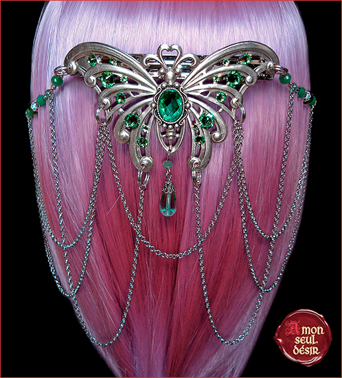Pince cheveux papillon barrette elfique féerique mariage elfe arwen galadriel wedding hair slide butterfly elf jewelry