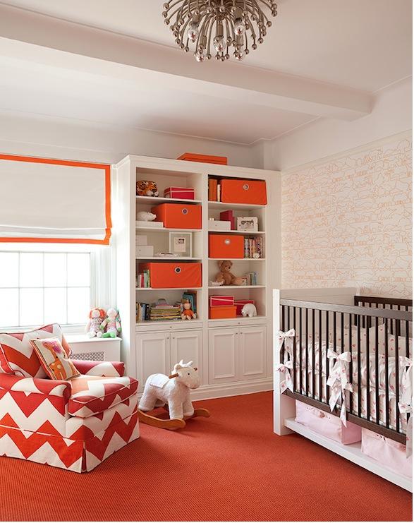 dormitorio bebé blanco naranja