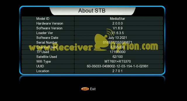 MEDIASTAR SOFTWARE FOR GX6605S 5815 V4.1 13 JULY 2021
