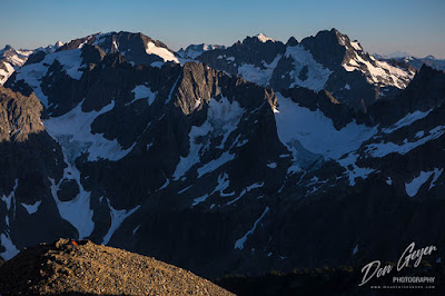 View from high camp in North Cascades National Park looking south along the Cascade crest, Washington, USA.