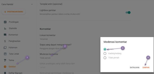 Cara Mengaktifkan Moderasi Komentar Blogger