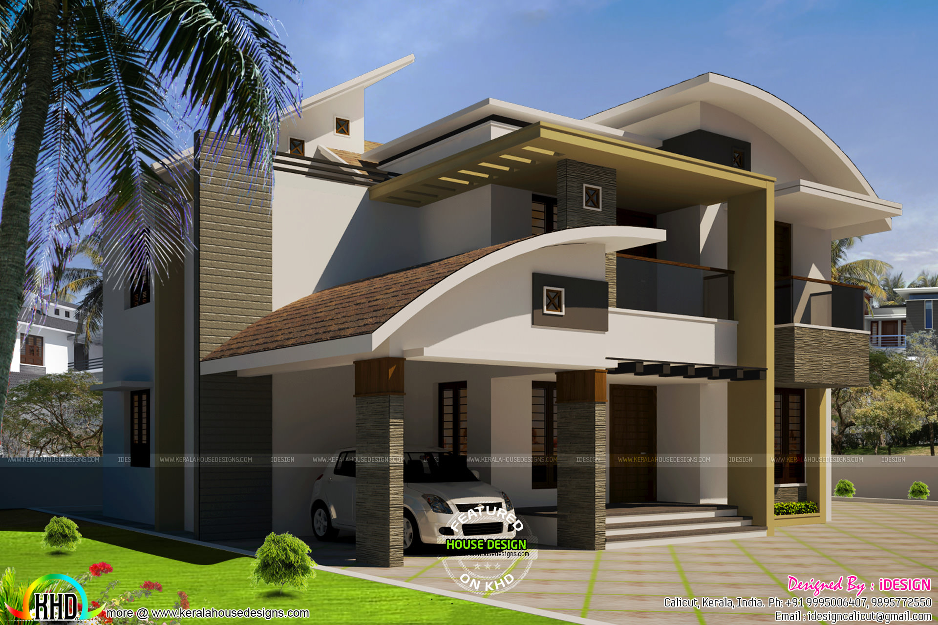 Curved Front Elevation Designs : Sq ft modern curved roof home kerala design