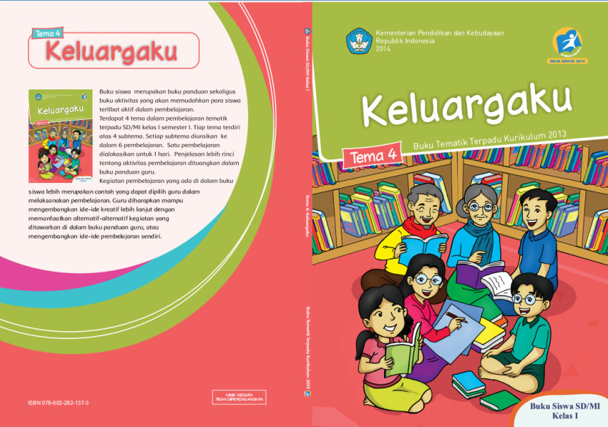 Download Buku Tematik Kurikulum 2013 SD/MI Kelas 1 Tema 4 Keluargaku Edisi Revisi Format PDF