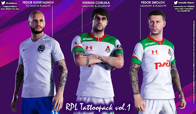 PES2020 RPL Tattoos Pack Vol. 1 by maratik182 and Sho