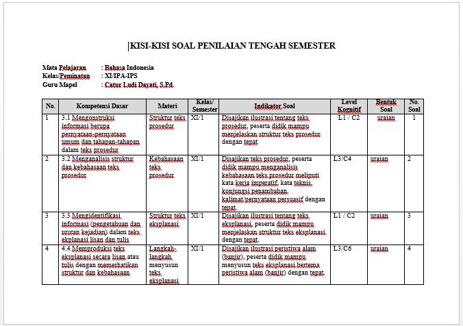 Hot Soal Uts Bahasa Indonesia Kelas 3 Semester 1 Kurikulum ...