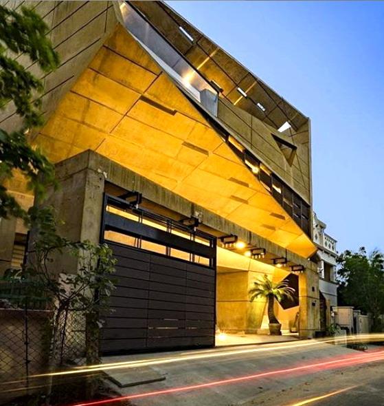 rumah minimalis modern 2 lantai bentuk tidak beraturan
