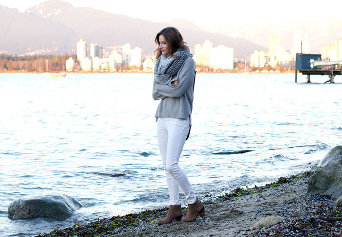 Vancouver Style Blogger, Alison Hutchinson, in weekend casual wear to watch the sunset at kits beach