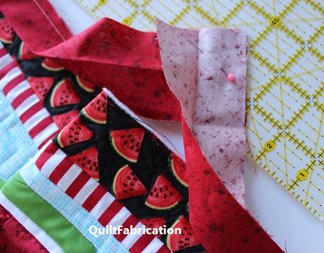 binding ends right sides together at right angles to each other