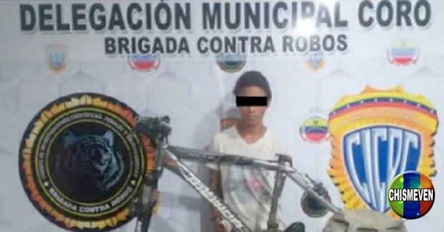 Miembro de una banda detenido en Falcón por robarse una bicicleta