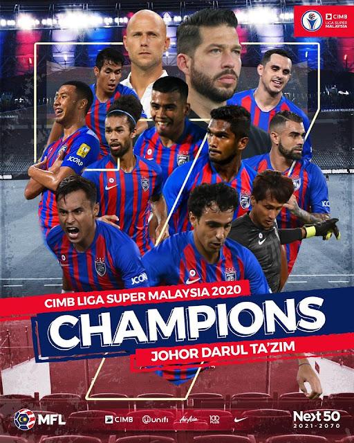JDT Juara Liga Super, Pulau Pinang Juara Liga Perdana 2020.