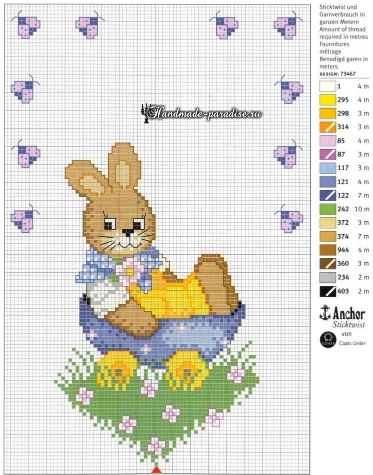Кролик на скатерти. Пасхальная вышивка