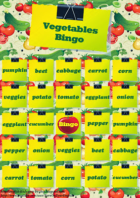 vegetables bingo game for teaching esl