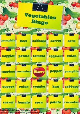 vegetables bingo game for pedagogy esl