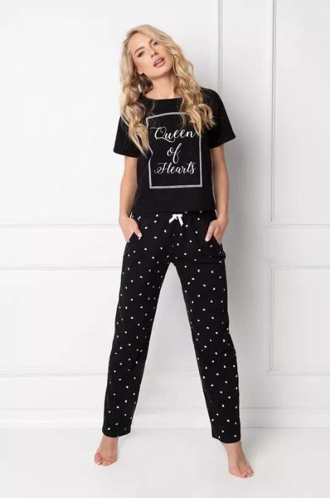 Aruelle - Pijama dama neagra cu imprimeu text