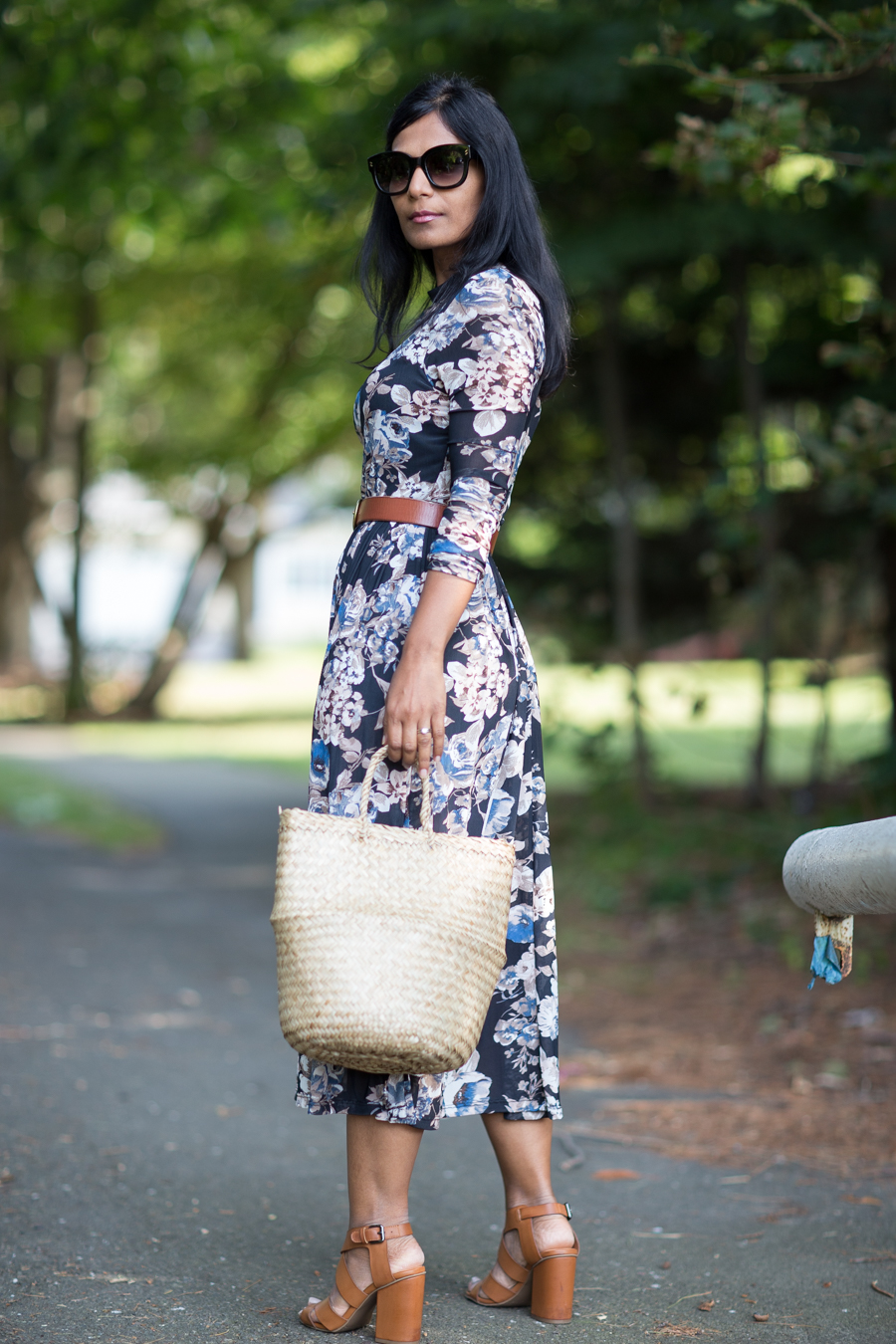 floral print, floral dress, fall style trends, basket bag, alexander mcqueen, nordstrom rack, affordable style, petite fashion, petite blogger, boston stylist