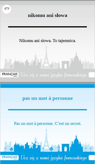 Recenzja #144 - Fiszki do nauki Języka Francuskiego - przykładowa fiszka - Francuski przy kawie