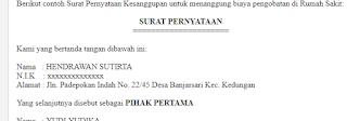 Contoh Surat Pernyataan Kesanggupan atau Kebersediaan