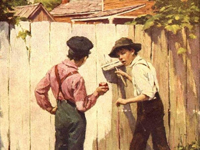 Painting of Tom Sawyer talking another boy into painting the fence for him.