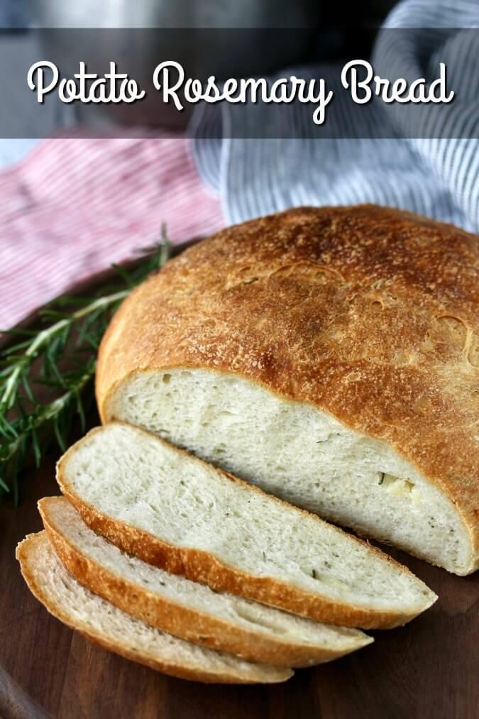 Homemade Potato Rosemary Bread with Roasted Garlic