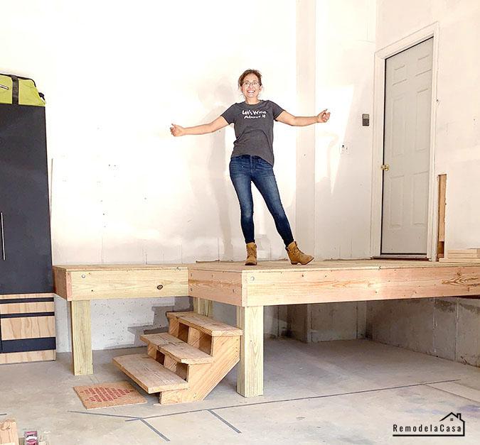 Cristina Garay on garage platform
