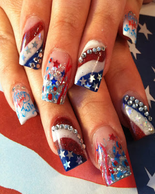Desings Nails for 4 of july