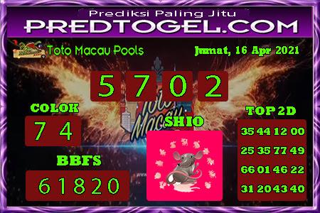 Pred Macau Jumat 16 April 2021