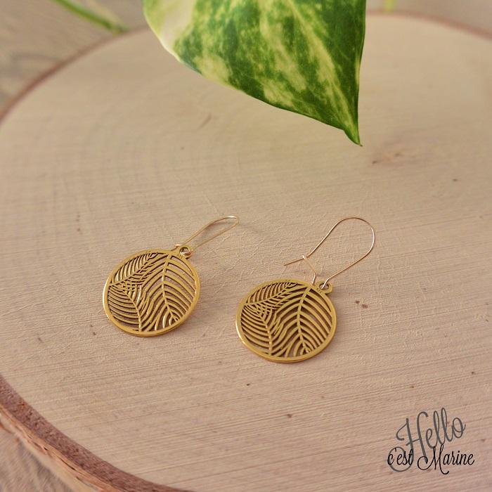 Boucles d'oreilles en argent 925 doré, motif feuilles, par Hello c'est Marine