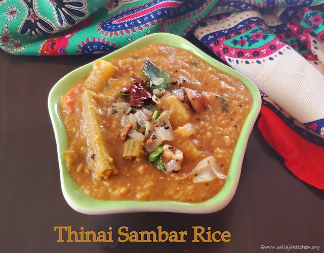 images of Thinai Sambar Rice / Thinai Sambar Sadam Recipe / Foxtail Millet Sambar Rice / Millet Recipes