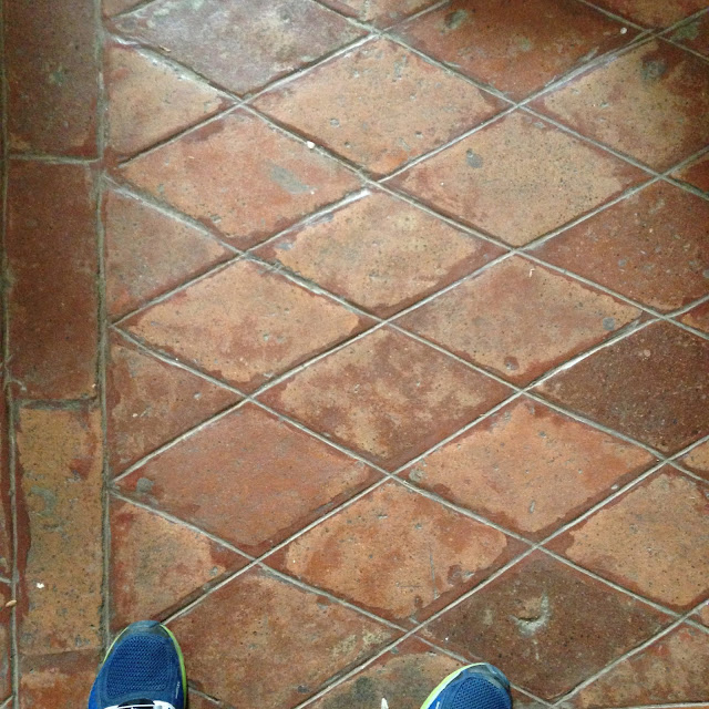 Rare brick baldosas or earthenware floor tiles of various geometric shapes (e.g. octagon, hexagon, quadrilaterals and triangles) form patterns with a distinct red hue that articulate the ground floor pavement of the church nave and part of the convento