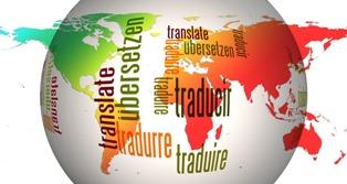mappamondo con tutte le lingue del mondo