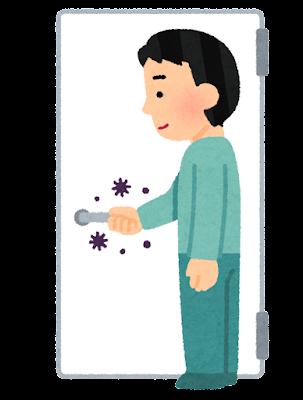 接触感染のイラスト(ドアノブ・感染症)