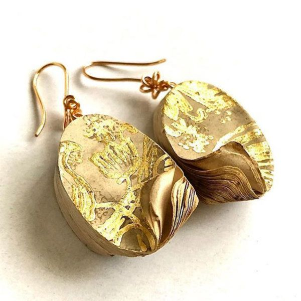 layered golden paper earring pair